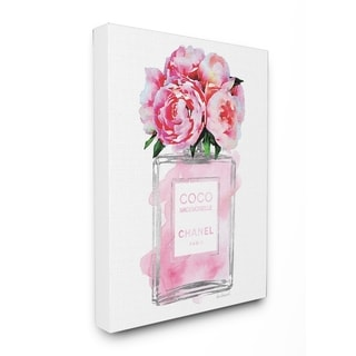 Glam Perfume Bottle V2 Peony Stretched Canvas Wall Art