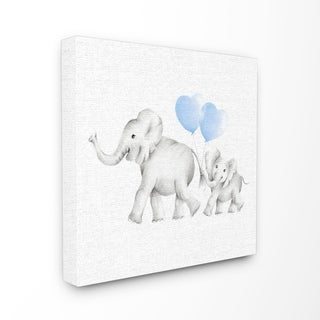 Elephant Family Blue Balloon Linen Look Stretched Canvas Wall Art (2 options available)