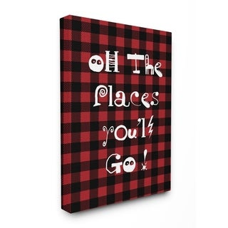 Oh The Places You'll Go Typography Stretched Canvas Wall Art