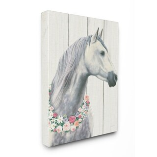 Spirit Stallion Horse w/ Wreath Stretched Canvas Wall Art (3 options available)