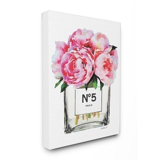 Glam Paris Vase with Pink Peony Stretched Canvas Wall Art