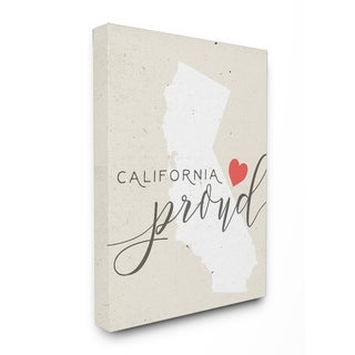 California Proud with Heart Stretched Canvas Wall Art