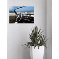 Long Beach Vintage Car Stretched Canvas Wall Art