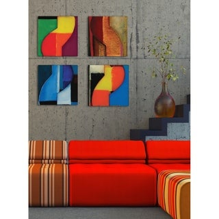 Modern Zig Zag Blue and Black Stretched Canvas Wall Art