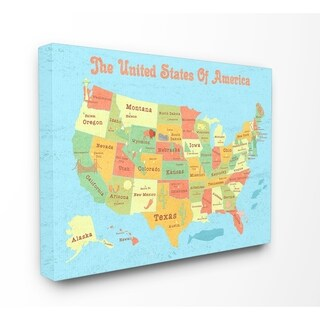 United States of America Kids Map Stretched Canvas Wall Art