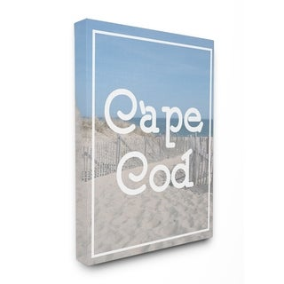Cape Cod Beach Typography Vintage Stretched Canvas Wall Art