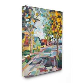 Geometric New England Fall Scene Stretched Canvas Wall Art