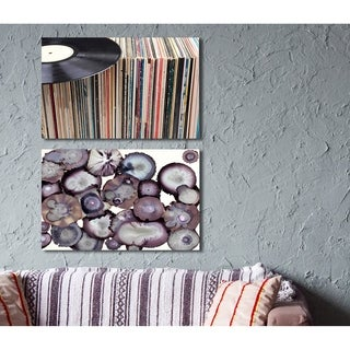 Vintage Records Display Stretched Canvas Wall Art