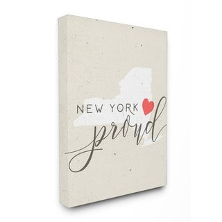 New York Proud with Heart Stretched Canvas Wall Art