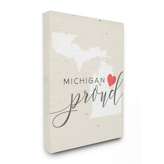 Michigan Proud with Heart Stretched Canvas Wall Art