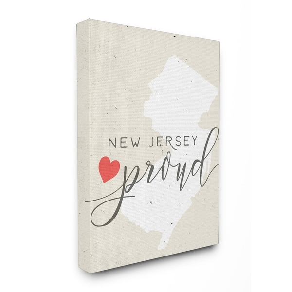 NJ Proud with Heart Stretched Canvas Wall Art