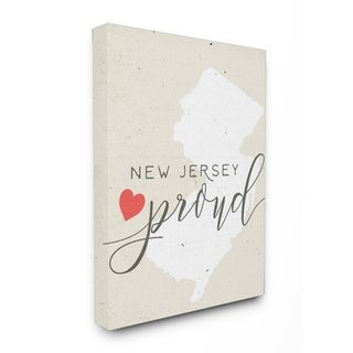 New Jersey Proud with Heart Stretched Canvas Wall Art