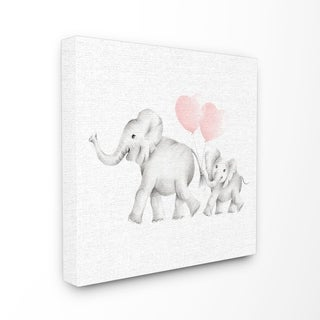 Elephant Family Pink Balloon Linen Look Stretched Canvas Wall Art