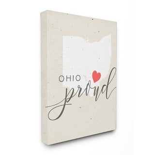 Ohio Proud with Heart Stretched Canvas Wall Art
