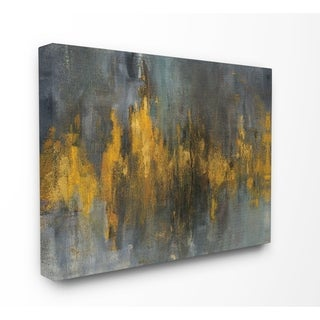 Black and Gold Abstract Fire Stretched Canvas Wall Art
