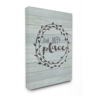 Our Happy Place Plank Wood Look Stretched Canvas Wall Art