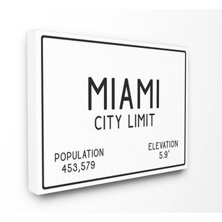 Miami City Limit Stretched Canvas Wall Art