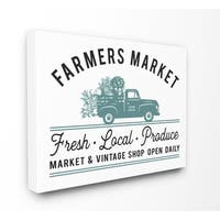 Farmer's Market Icon Vintage Sign Stretched Canvas Wall Art