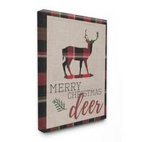 Merry Christmas Deer Stretched Canvas Wall Art