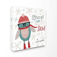 Bring on the Snow Hipster Penguin Stretched Canvas Wall Art