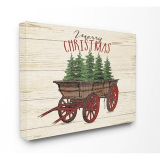 Merry Christmas Tree Wagon Stretched Canvas Wall Art