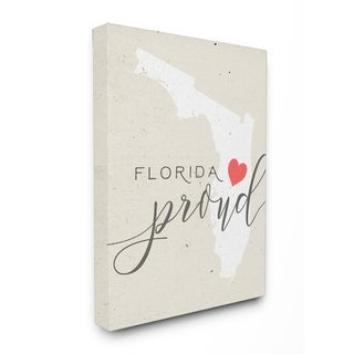 Florida Proud with Heart Stretched Canvas Wall Art