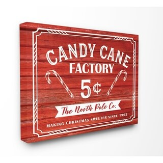 Candy Cane Factory Vintage Sign Stretched Canvas Wall Art
