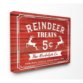Reindeer Treats Vintage Sign Stretched Canvas Wall Art