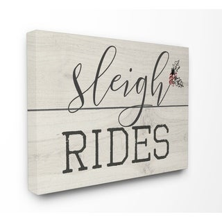 Sleigh Rides Vintage Christmas Sign Stretched Canvas Wall Art