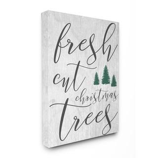 Fresh Cut Christmas Trees Grey Stretched Canvas Wall Art