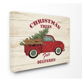 Merry Christmas Vintage Tree Truck Stretched Canvas Wall Art