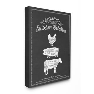 Butcher Selection Poultry Pork Beef Stretched Canvas Wall Art