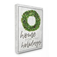 Home For the Holidays Wreath Stretched Canvas Wall Art