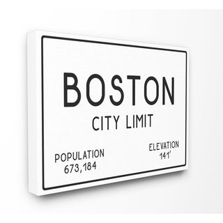 Boston City Limit Stretched Canvas Wall Art