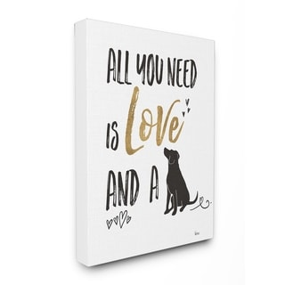 Dog Lover Typography Stretched Canvas Wall Art
