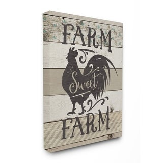 Farm Sweet Farm Rustic Rooster Stretched Canvas Wall Art