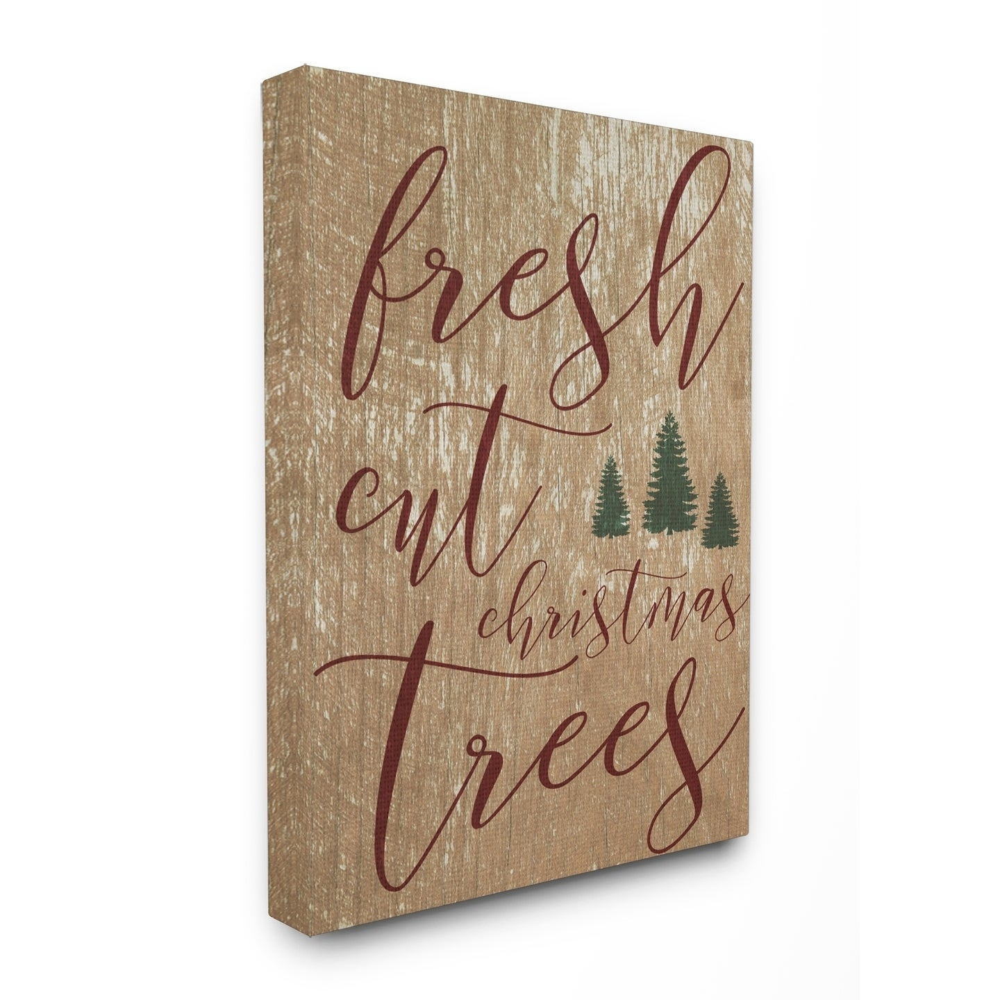 Fresh Cut Christmas Trees Tan Stretched Canvas Wall Art (...