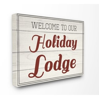 Our Holiday Lodge Vintage Stretched Canvas Wall Art