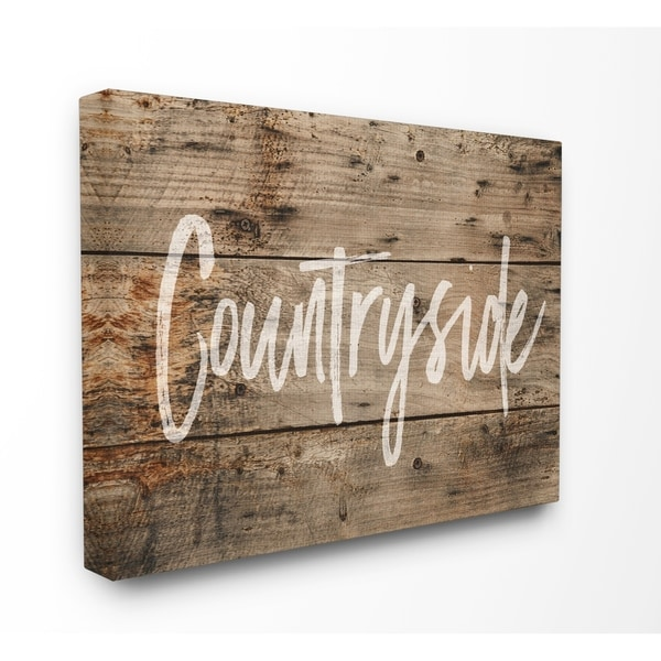 Shop Countryside Distressed Wood Look Stretched Canvas Wall Art - On ...