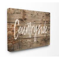 Countryside Distressed Wood Look Stretched Canvas Wall Art