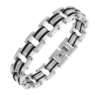 Stainless Steel Link Bracelet with .15 cttw Diamonds