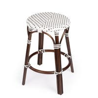Butler Tobias Blue & White Rattan Counter Stool