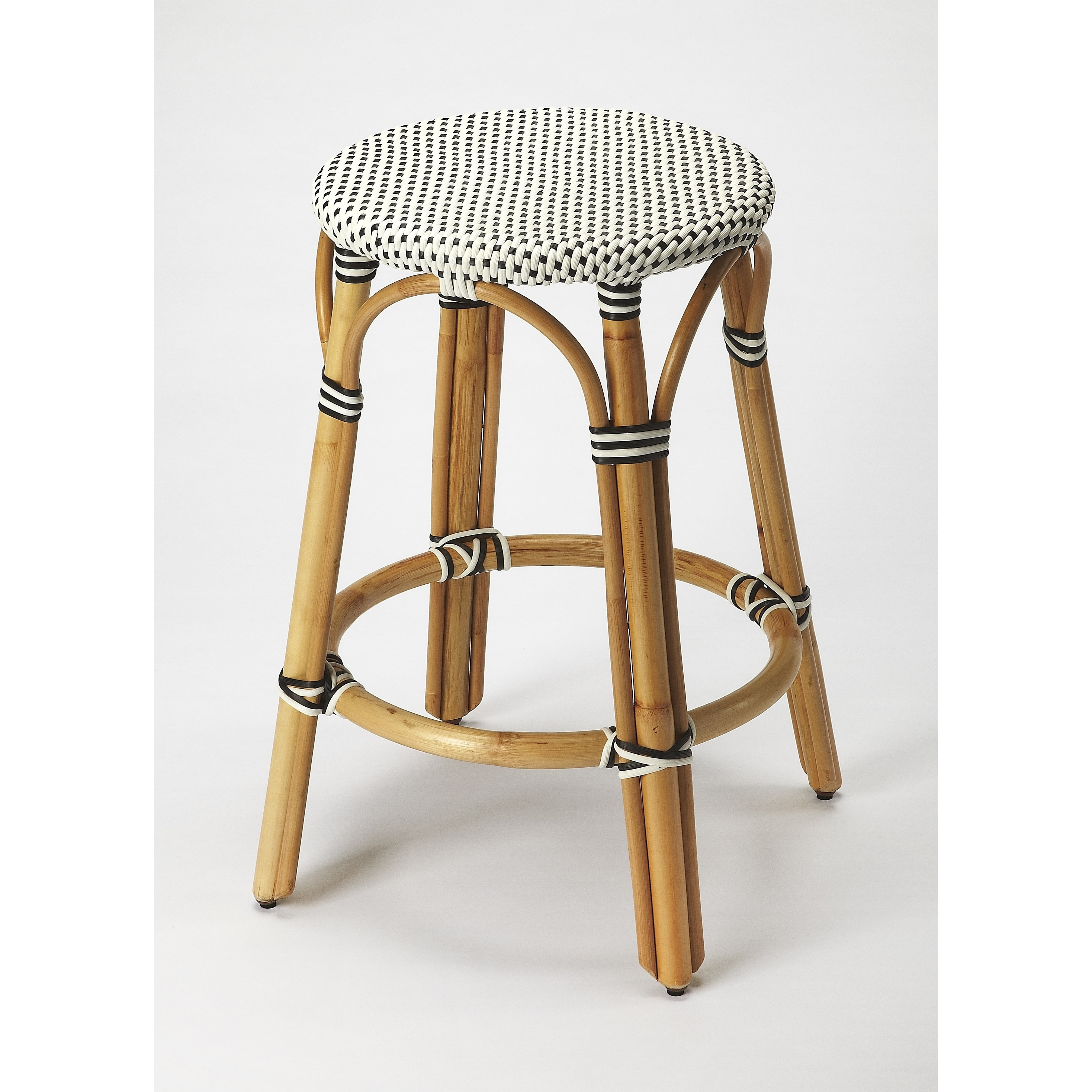 Picture of: Butler Tobias Black White Rattan Counter Stool Overstock 18072626