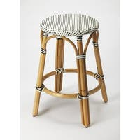 Butler Tobias Black & White Rattan Counter Stool