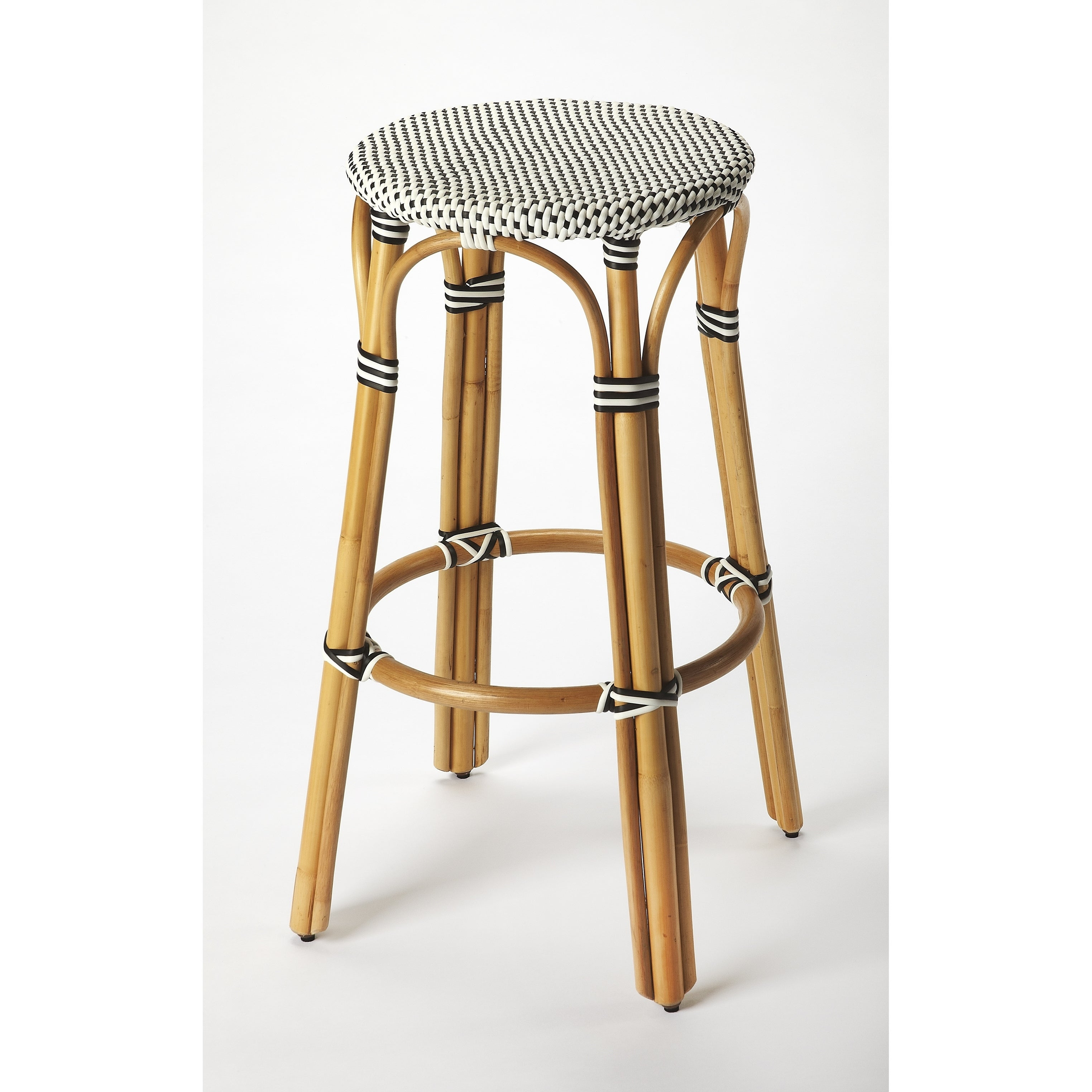 Handmade Butler Tobias Black And White Rattan Bar Stool Indonesia Overstock 18072637