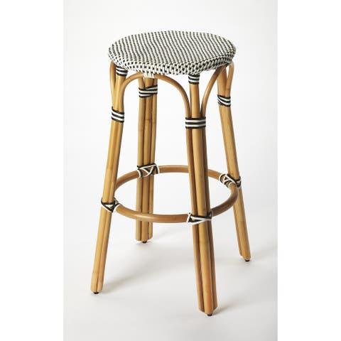 Handmade Butler Tobias Black and White Rattan Bar Stool (Indonesia)