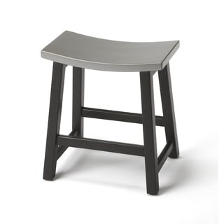 Butler Dwyer Silver and Black Wood Stool