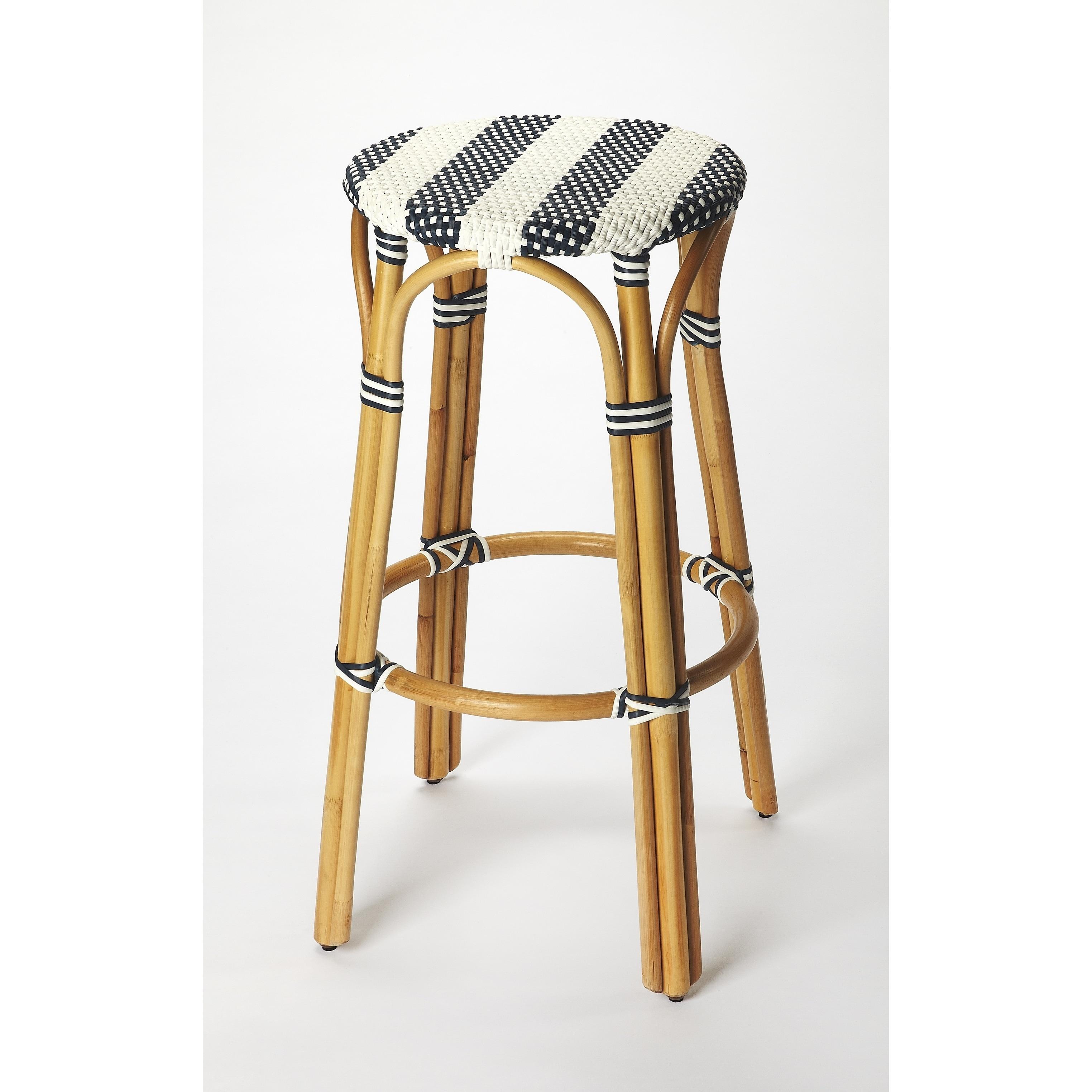 Handmade Butler Tobias Blue And White Rattan Bar Stool Indonesia Overstock 18072644