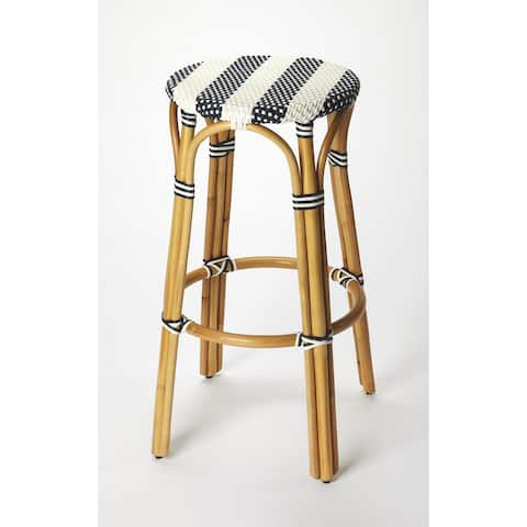 Handmade Butler Tobias Blue and White Rattan Bar Stool (Indonesia)