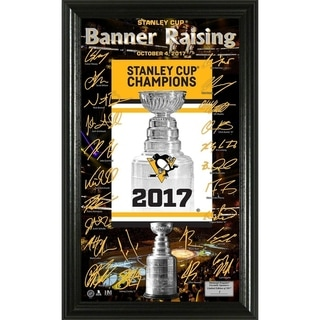 """Pittsburgh Penguins 2017 Stanley Cup Champions """"Banner Raising"""" Signature Frame"""